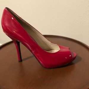 Sexy red peep toe pumps